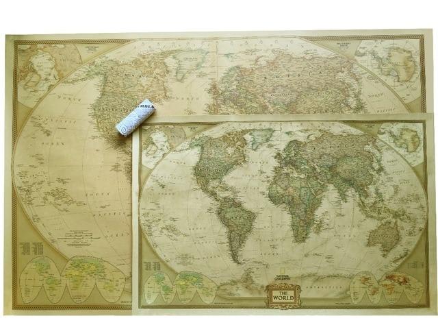 Vintage Map Of World.Vintage World Map Travel Home Decoration Detailed Antique Poster