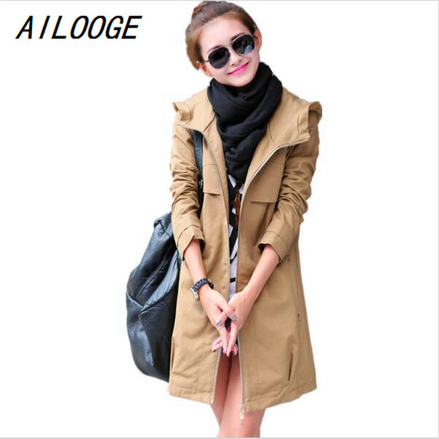 AILOOGE New Fashion Plus Size Women Coat 2017 Spring Autumn Casual Hooded Long Trench Coat Female Slim Solid Thin Outerwear