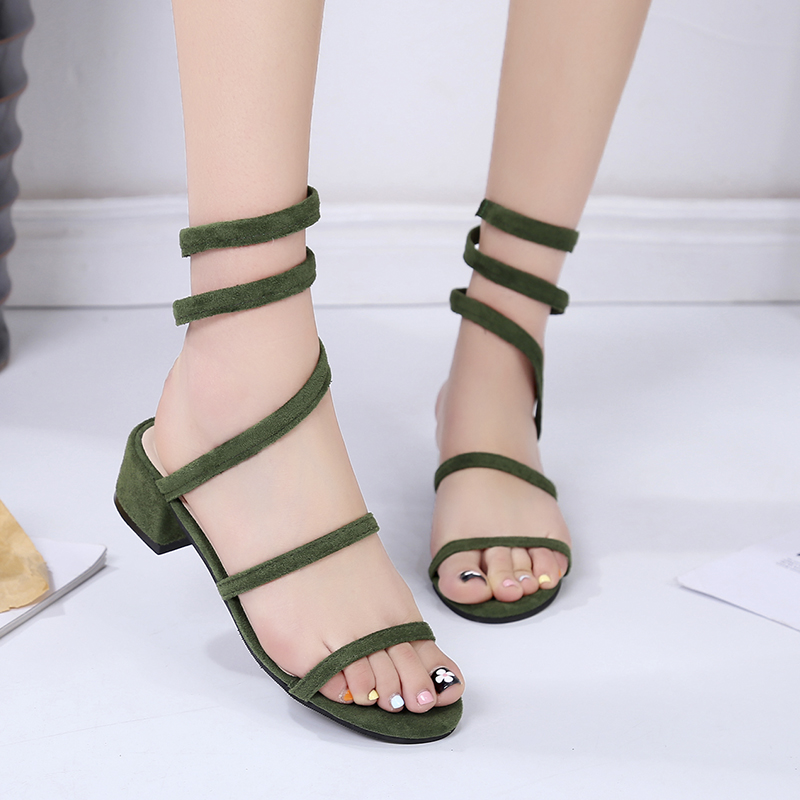 Flock ankle strap slip-on low heel women Sandals 2018 summer hot sale fashion sexy comfortable casual lady shoes Zapatos Muje xiaying smile summer women sandals casual fashion lady square heel slip on flock shoes pointed toe cover heel lace bowtie shoes