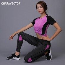 Фотография 2018 Autumn Women Yoga Set Gym Fitness T Shirt+Pants Running Tights Jogging Workout Yoga Leggings Gym Sport Suit