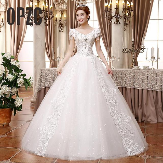 White A-Line Wedding Dress 2018 Luxury Sequin Pearl Bead plus size vestido  de noiva Lace Princess bride V-Neck Free shipping 228c8d20c9fe