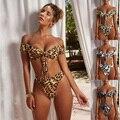 Leopardo maiô 2019 nova bandeau biquinis verão feminino alta corte tanga mulheres banho imprimir biquíni brasileiro terno de natação