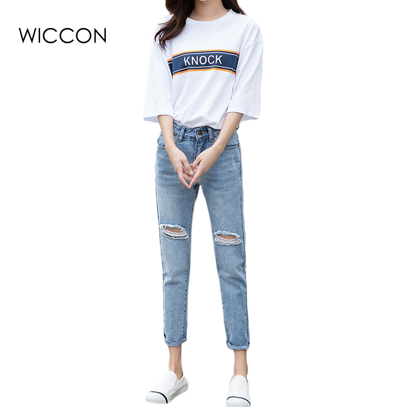 Fashion Casual Women Vintage High Waist Skinny Denim Jeans Slim Ripped Pencil Jeans Hole Ankle Length Pants Female Sexy WICCON 2017 ripped jeans women casual denim ankle length boyfriend pants women floral embroidered flares hole female slim pencil pants