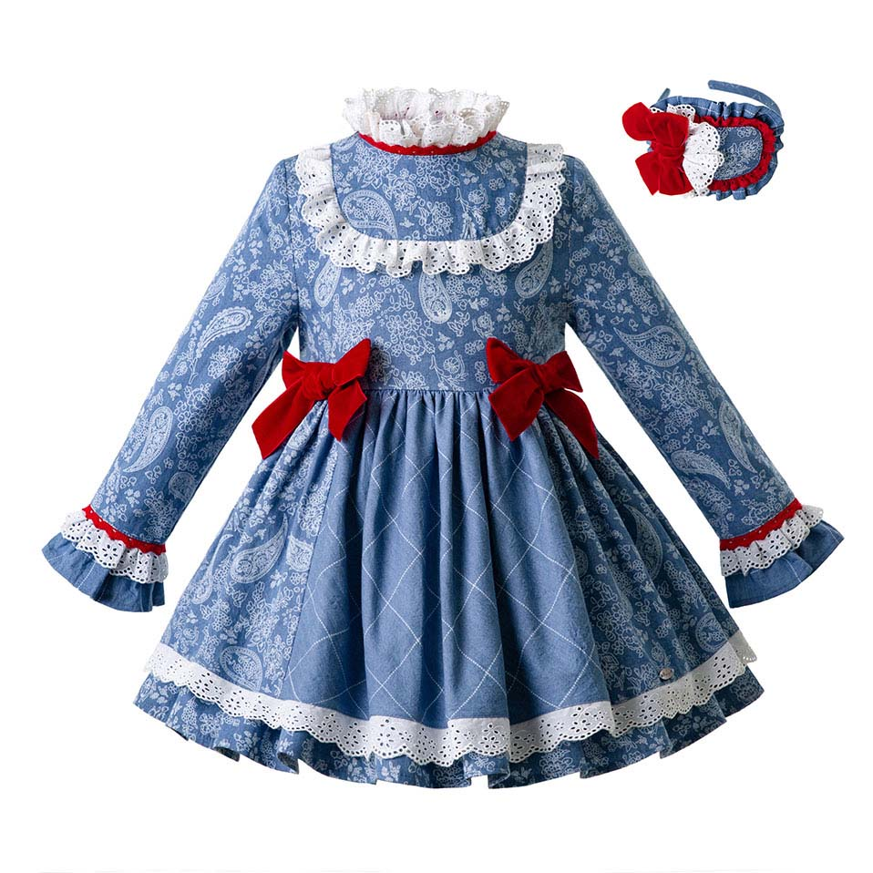 Pettigirl 2019 Girl Floral Printed Party Girl Dress Blue High Waist Dresses With Bows Boutique Clothing