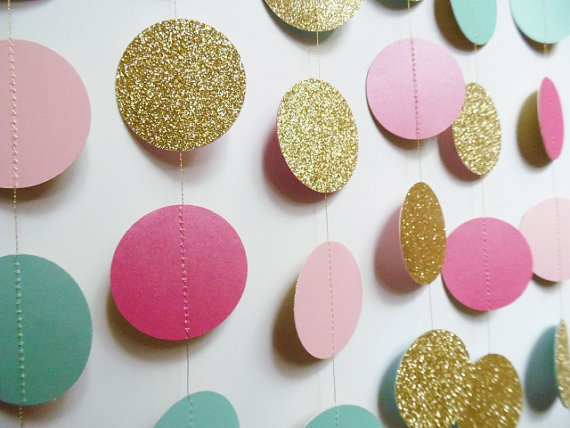 Gold Circle Garland, Light Pink, Hot Pink And Light Turquoise Party  Decoration, Bridal