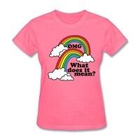 Wat betekent het Printing Dubbele Regenboog-OMG Vrouwen Gift's T-Shirt Offensice t-shirt Schepper Vrouwelijke Geel Basic Tee
