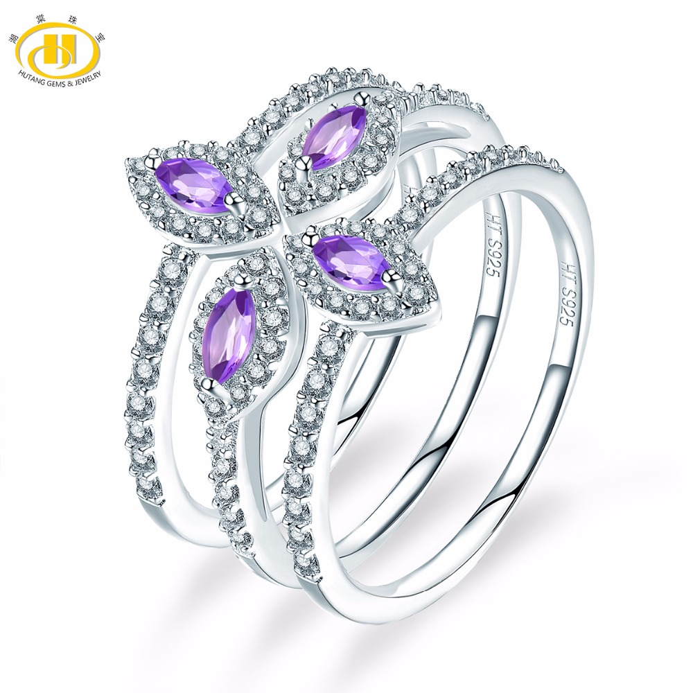 Hutang Wedding Ring Natural African Amethyst Solid 925 Sterling Silver Three Ring Sets Gemstone Engagement Fashion Stone Jewelry