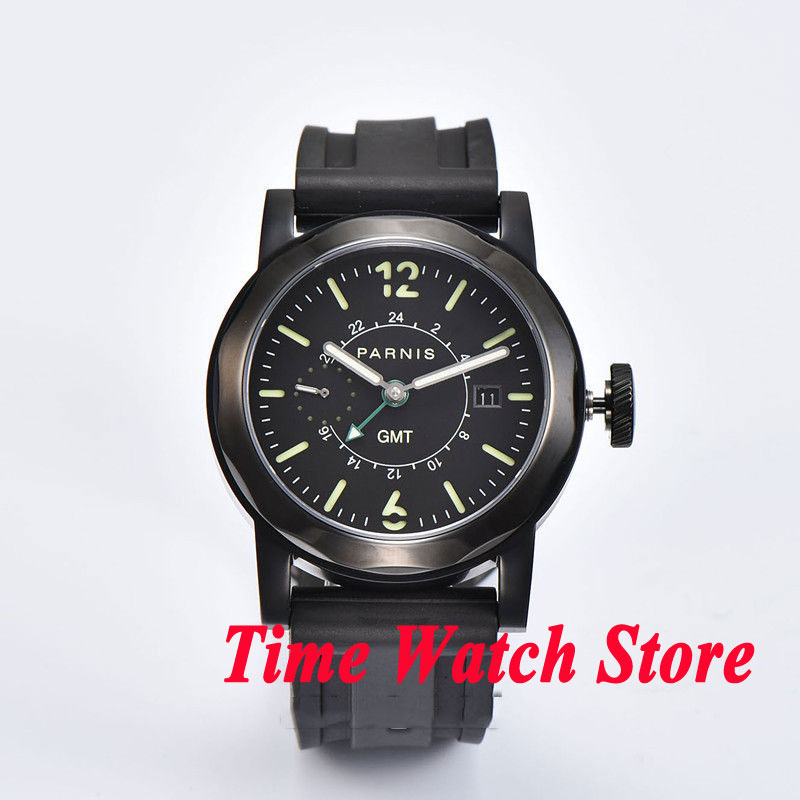 44mm Parnis GMT mens watch 709 black dial date luminous PVD case sapphire glass цена и фото