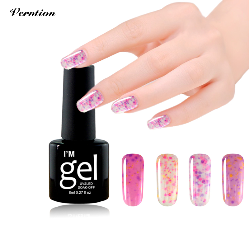 Verntion Sweet Colors Cheese Gel Varnish Professional Lucky Colorful Nail Polish Semi Permanent Need Base Top Nail Art Lacquer