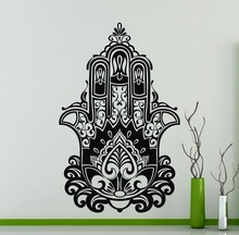Vinyl Riligious Hamsa Hand Fatima Indian Yoga Style Wall Mural House Living Room Decoration Decals Art Design Y-872