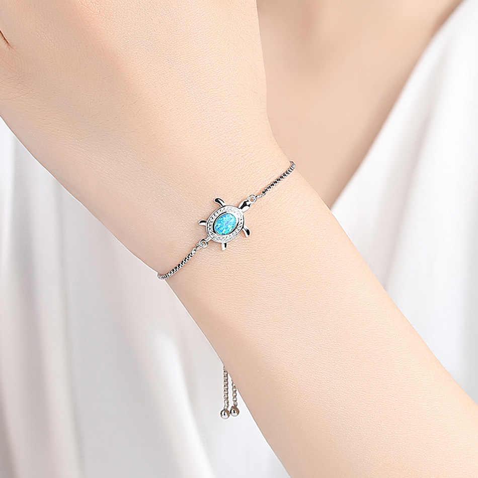 ELESHE модный новый серебряный браслет с черепахой для женщин, регулируемые браслеты на цепочке, ювелирные изделия с кристаллами и опалом