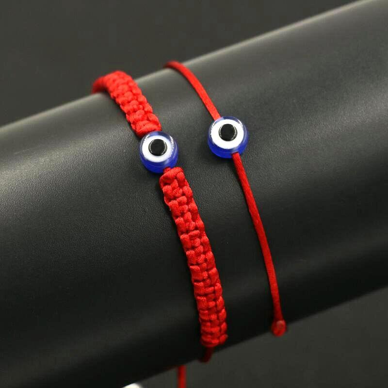 BPPCCR 2pcs/set Lucky Turkish Evil Eye Braid Bracelet Red Blue Rope Thread String Men Women Chakra Bracelets Couples Jewelry men beaded bracelet red