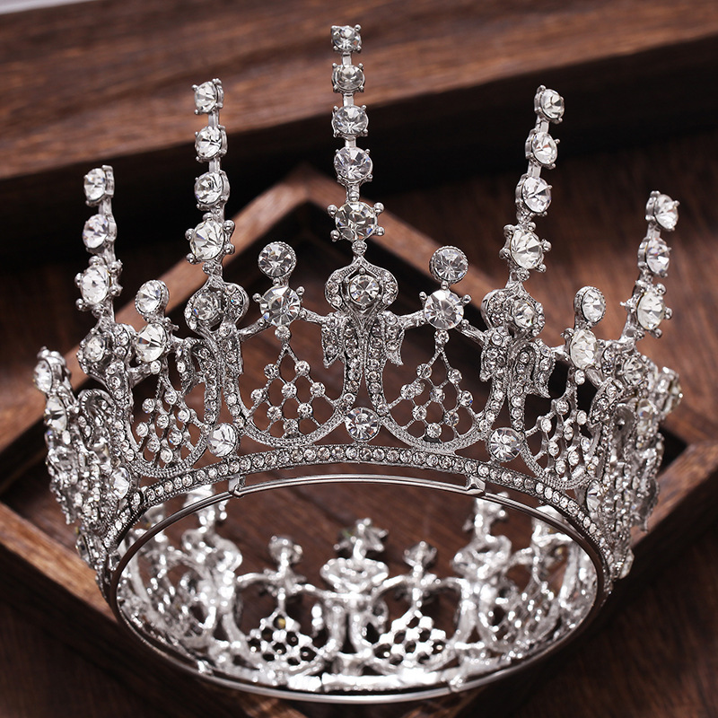 Luxurious Baroque Silver Crystal Rhinestone Bride Crown Tiaras Queen Bridal Wedding Hair Accessories Headpiece Hair Ornaments цена