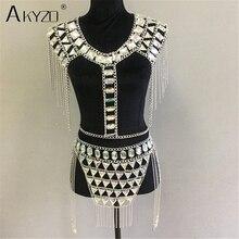 AKYZO Crazy crystal sequin women 2 Piece Sets funny Festival Outfits handmade patchwork metal tassel chain Crop Top women's set