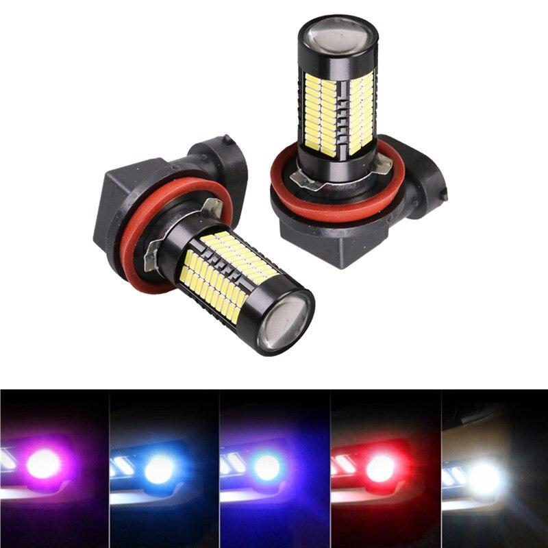 2 шт. H8 H11 светодиодные противотуманные лампочка 1200LM 6000 К белый 4014 SMD чипов вождение автомобиля лампы дневного авто светодиоды 12 В