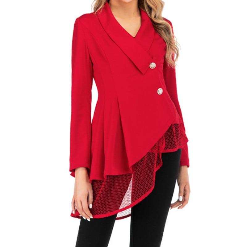 S-3XL Women New Mesh Hem Fashion Work Office Suit Fashion Long Sleeve V Neck Formal Red Black Elegant Office Lady Blazers Top(China)