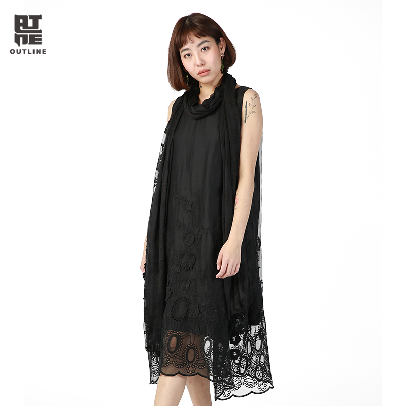 Outline Women Black Summer Casual Dresses Solid Knee Length Sleeveless Pullover O Neck Hollow Out Embroidery
