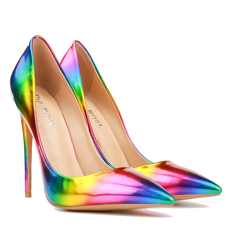 832f21a92a63 Themost Womens Fashion Slip on Dress Pumps Colorful Rainbow Print ...