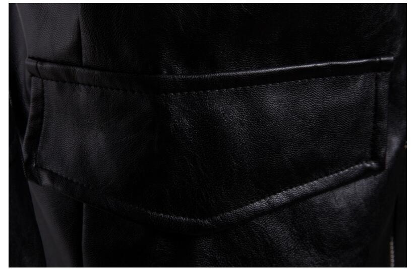 Mens giacca di pelle del motociclo sottile lungo cappotto di pelle giacche da uomo vestiti di strada personalizzato nero di modo di autunno inverno - 6