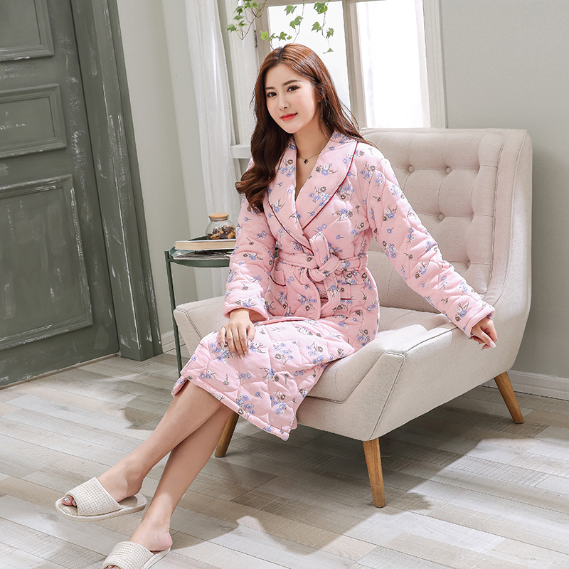 38dd77147f Detail Feedback Questions about Women Winter Quilted Sleepwear Nightwear  Kimono Robe Cotton Warm Robe Pink Small Flower Print Female Knitted SPA  Bathrobes ...