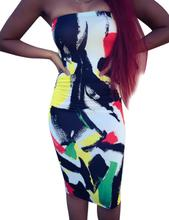 2019 New Summer Yfashion Women Sexy Slim Printing Strapless Dress