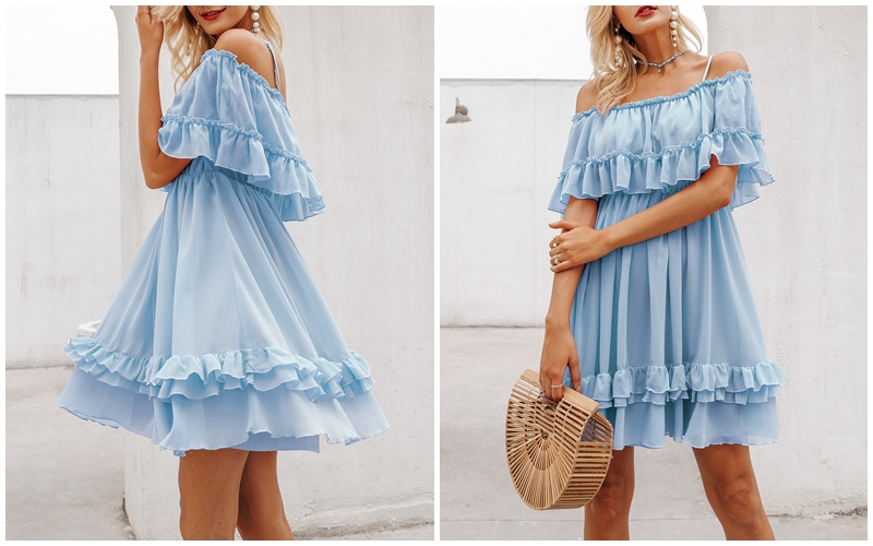 HTB1UCGscxiH3KVjSZPfq6xBiVXaV - BeAvant Off shoulder strap chiffon summer dresses Women ruffle pleated short dress pink Elegant holiday loose beach mini dress