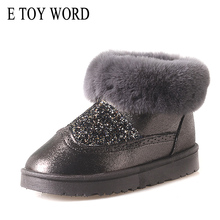 E TOY WORD Boots Women Bling Faux Fur Winter Snow Boots Sweet Cute Style Ankle Boots Women Warm Cotton Shoes Flat Slip On Boots все цены