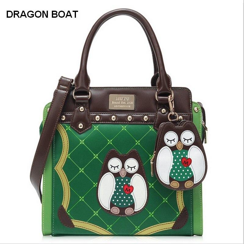 Luxury Fashion  Owl Print Women's Handbag Leather Women Tote Bag,lady Hand Bag,W