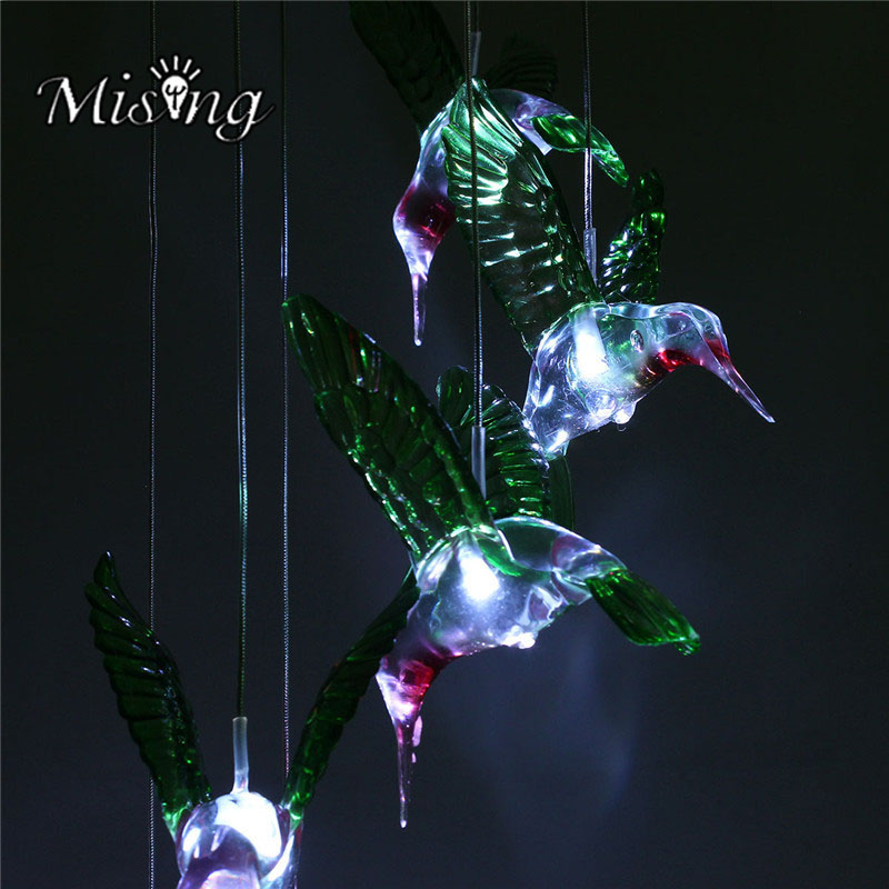 Mising LED Wind Chime Solar Lamp Lighted Humming Bird Color Changing Solar Lights Cute String Light for Yard Garden Decoration