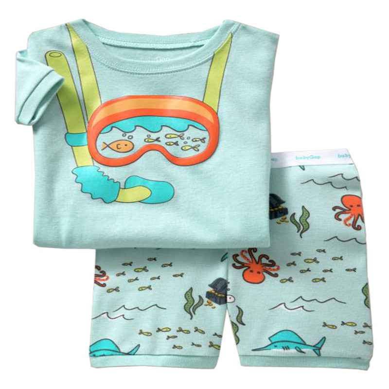 e6d3bd222800 Summer Kids Pajamas Sets Baby Boys Sleepwear Cartoon Sea Turtles ...