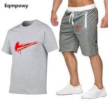 Летние мужские комплекты Футболки + шорты мужские Брендовая одежда Спортивный костюм из двух частей