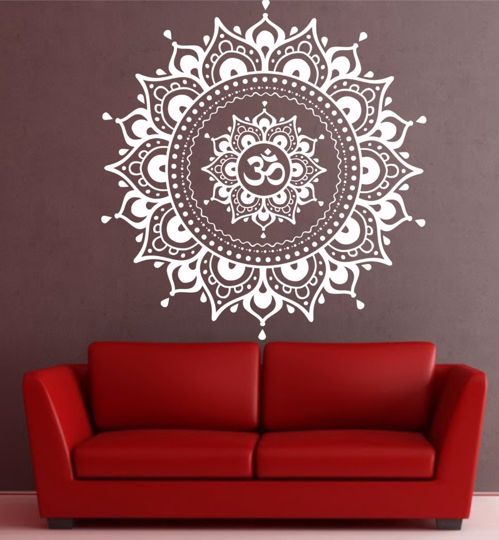 Mandala pattern big wall decal vinyl art sticker yoga lotus mandala pattern big wall decal vinyl art sticker yoga lotus meditation home decor mural black white in wall stickers from home garden on aliexpress amipublicfo Gallery