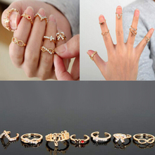 7Pcs New Rings For Women Fashion Jewelry Glasses Bow Cross 8V Crystal Ring Femme Accessories @ CX17