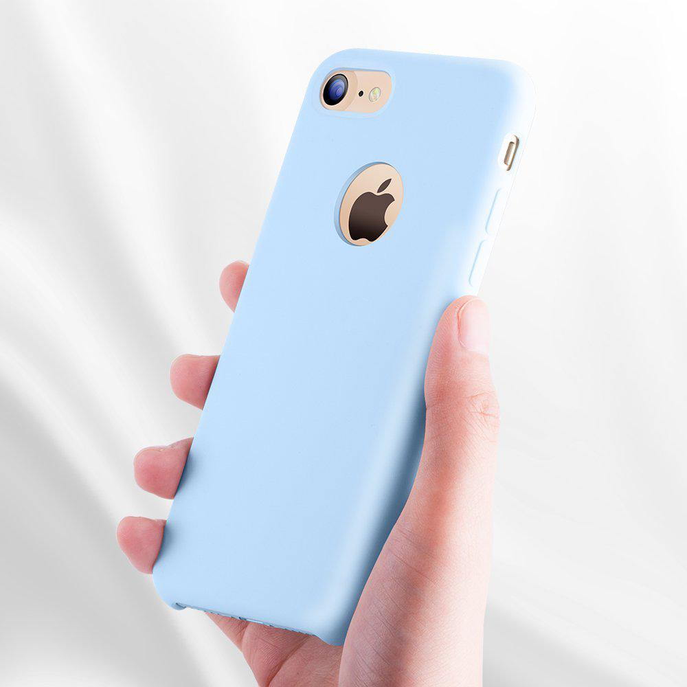 For iPhone 7 Case, SANGCE Liquid Silicone Gel Rubber Shockproof Case with Soft Microfiber Cloth Lining Cushion Light Blue