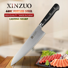 XINZUO 8.5 inch chef knife 3 layers 440C clad steel kitchen knives G10 handle chef's knife kitchen stainless gyuto knife cutlery