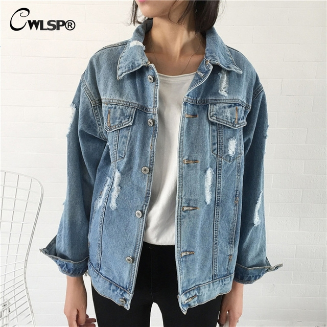 Cwlsp 2017 Denim Jacket Coat Women Vintage Ripped Holes Turn Down Collar Coats Cotton