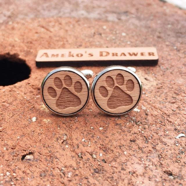 Wild Animal Style Laser Engraved Cufflinks Wooden Stud Suit X 1 Pair