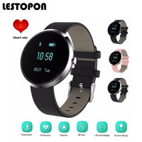 LESTOPON Business Smart Watch Android Watches Bluetooth Smartwatch Waterproof Blood Pressure Heart Rate Monitor Genuine Leather
