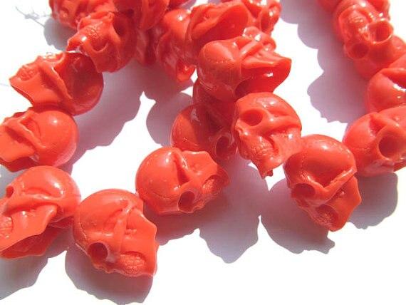 Gergous résine acrylique perles en plastique crâne squelette sculpté oranger rouge blanc lâche perle 18x25mm brin complet