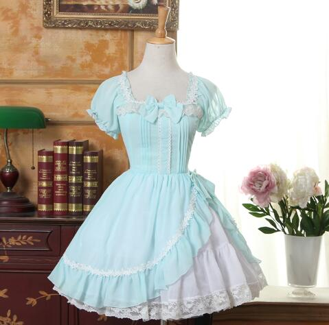 Custom Made 2016 Summer Light Green Sweet Lolita Dress Square Neck Short Sleeve Ruffled Girl's Short Chiffon Dress