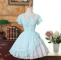 Custom Made 2016 Summer Light Green Sweet Lolita Dress Square Neck Short Sleeve Ruffled Girl's Short Chiffon Dress
