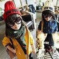 Высокое качество, модные ребенка шляпу и вязаный шерстяной шляпу детей толстые вертикальные полосы вышитые письмо шерсть ребенок остроконечную шляпу