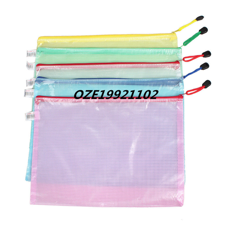 Netting Decor A4 Paper Document File Holder Zipper Bags Assorted Color 5pcs zigzag stripe zipper file holder