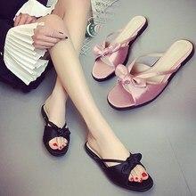 NIS Femme Mules Black/Pink Riband Bow Slippers Open Toe Sexy Beach Sandals Slides Flip Flops Women Summer Flat Heel Shoes