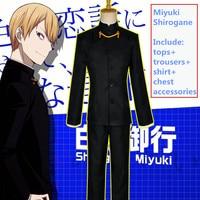 Anime Shinomiya Kaguya Fujiwara Chika Shirogane Miyuki Cosplay Costume S XL Academy Unifrom Skirt with Stockings Socks Bow