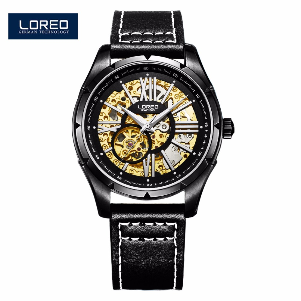 LOREO Mechanical Watch Men Fashion Skeleton Watch Male Leather Watches Hour Montre Homme Relogio Masculino Reloj Hombre AB2104 jaragr fashion square dial men s day month automatic mechanical watch reloj male wristwatch montre homme