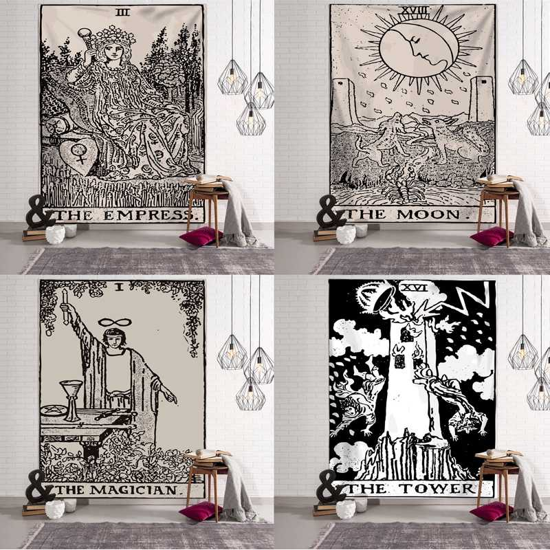 Tarot Card Tapestry Wall Hanging Astrology Divination Bedspread Yoga Beach Mat