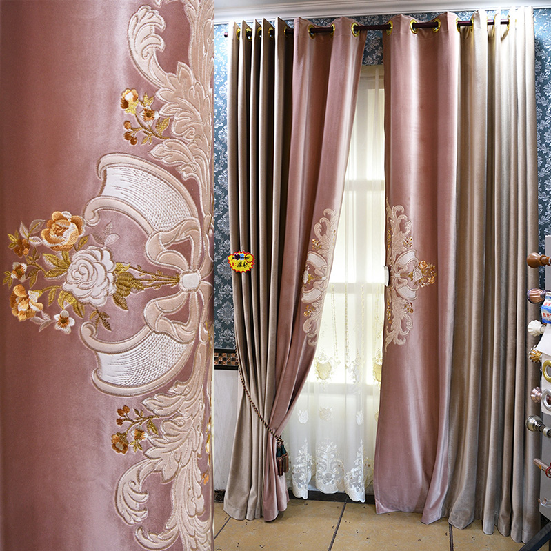 Custom curtains European Court High-end gorgeous Embroidery light pink thick velvet cloth blackout curtain tulle drapes B269Custom curtains European Court High-end gorgeous Embroidery light pink thick velvet cloth blackout curtain tulle drapes B269