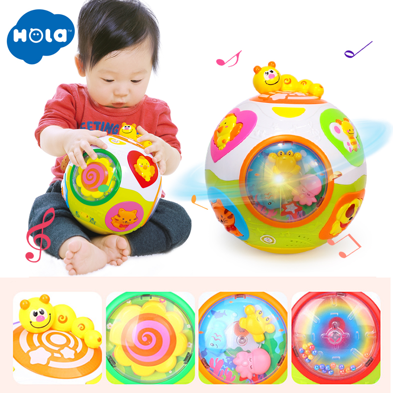 HOLA 938 Baby Toys Toddler Crawl Toy with Music & Light Teach Shape/Number/Animal Kids Early Learning Educational Toy Gift