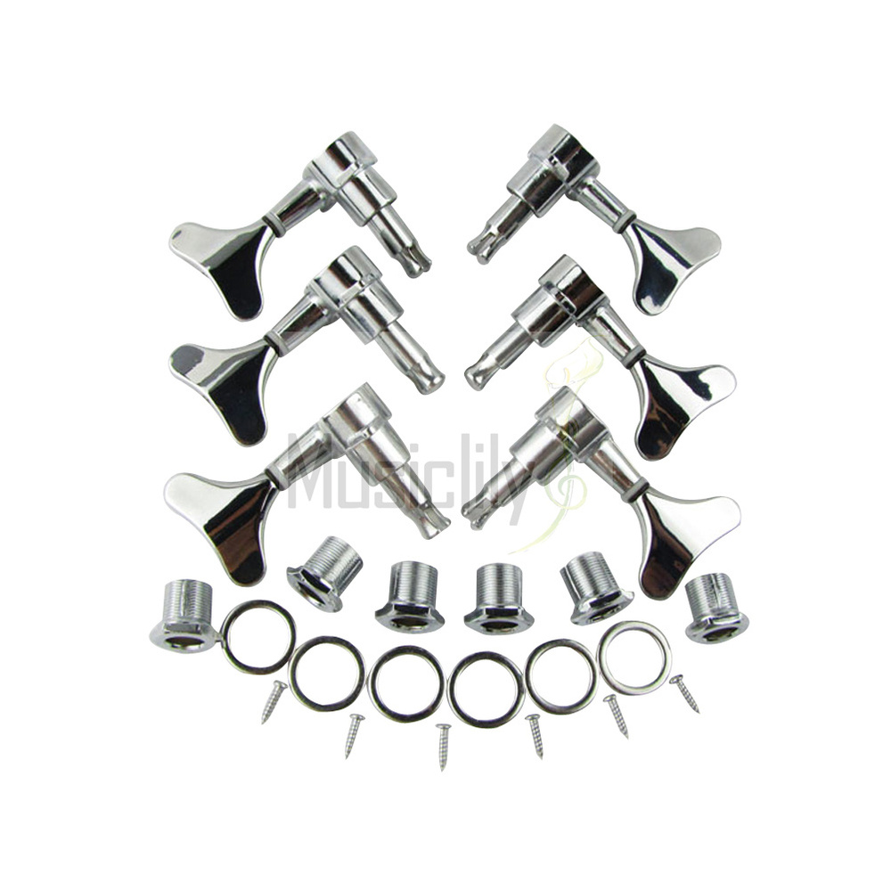 6Pcs Set 3R3L Chrome Bass Sealed String Tuning Pegs Machine Heads Tuners
